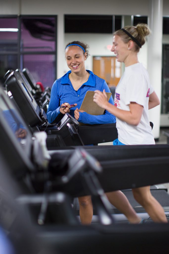 Students working out on treadmill in the G Rec