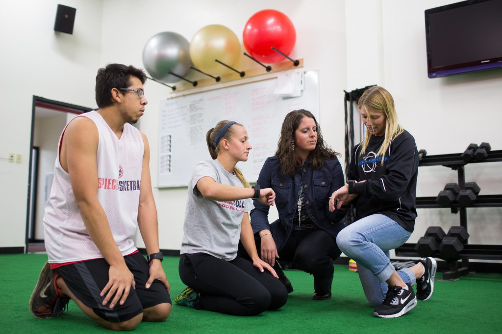 Students using training room at Grace a college for physical therapy