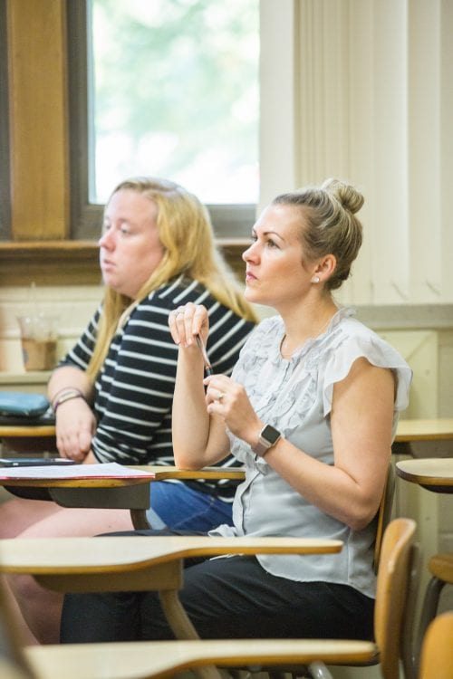 Students paying attention in class
