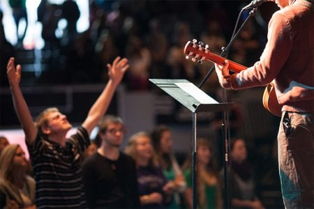 students worshiping in chapel
