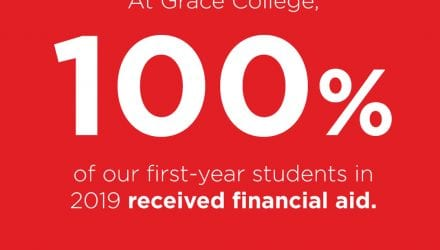 At Grace, a small Christian College, 100% of first-year students receive financial aid.